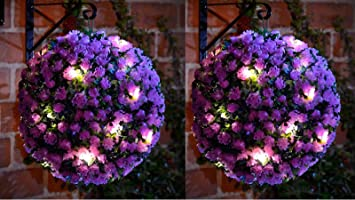 20 LED Solar Powered Rose Topiary Ball Boxwood Hanging Garden Light  Ornament (2, Purple