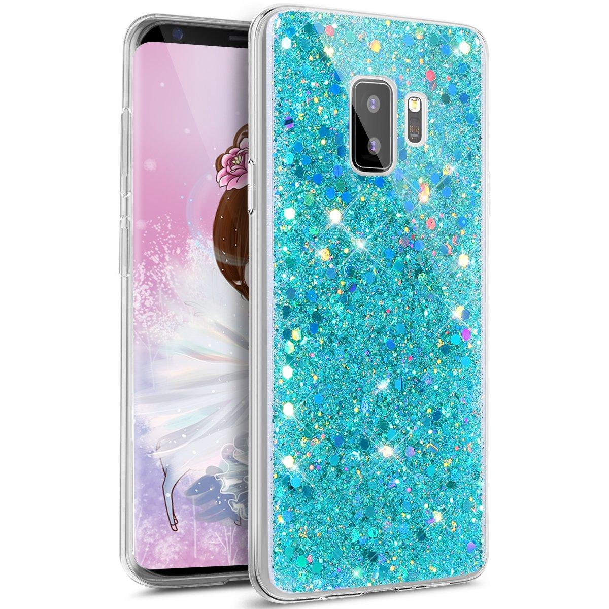 JAWSEU Custodia Cover Samsung Galaxy S9 Plus Silicone TPU Trasparente, Cristallo di Lusso Angelo Bling Glitter Ultra Sottile Crystal Clear Soft Gel AntiGraffio Antiurto Protettiva Bumper Case JAWSEU0057833