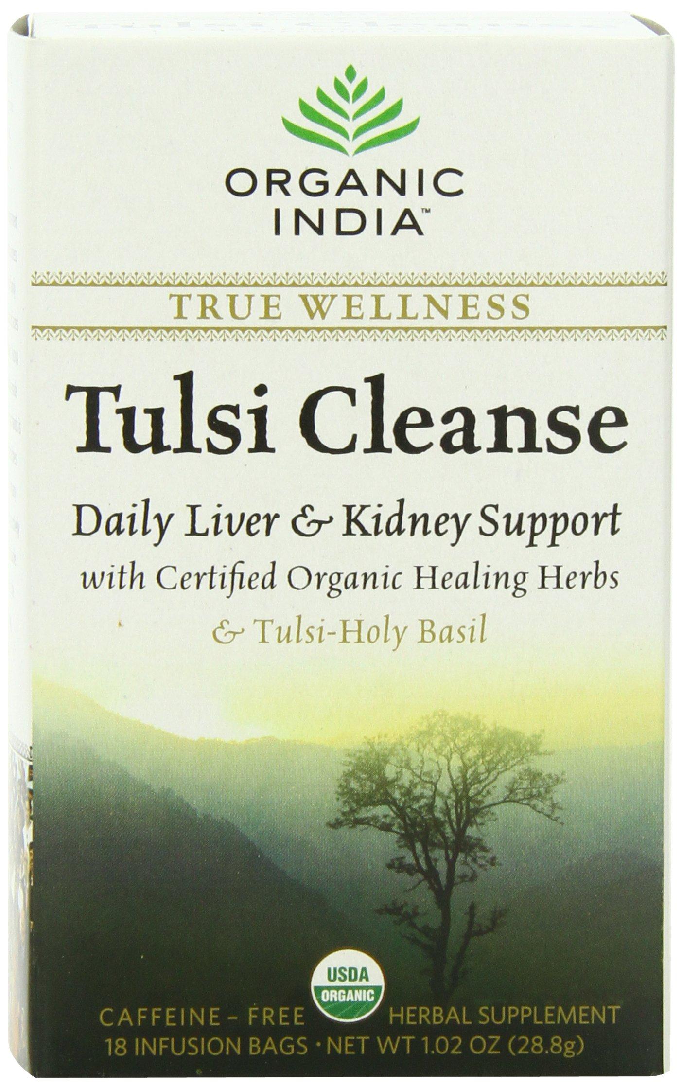ORGANIC INDIA Organic Tulsi Herbal Tea, Tulsi Cleanse, 18 Tea Bags (Pack of 6)