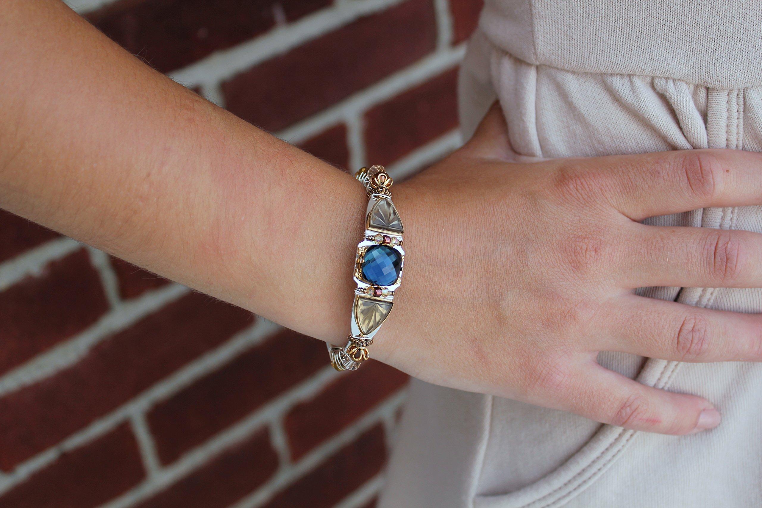 Liztech Athena Crystal Cuff Bangle Bracelet Adjustable Gold Silver Stone Open Cuff Bracelet (Navy)