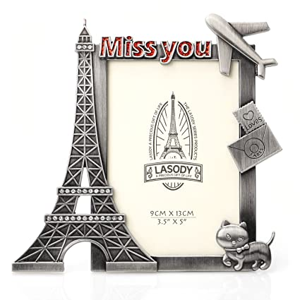 Amazon.com - QTMY Metal Eiffel Tower Cat Miss You Picture Frames ...