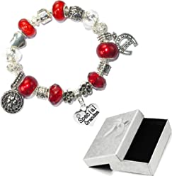 cf381a43d Charm Buddy Special Grandma Red Silver Crystal Good Luck Pandora Style  Bracelet With Charms Gift Box