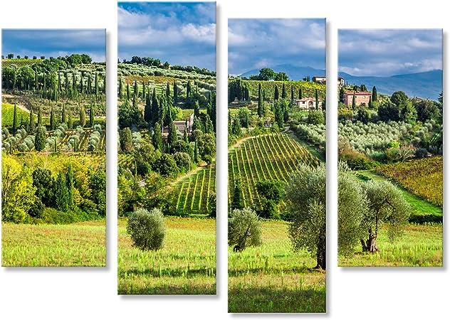 islandburner Cuadro Cuadros Olivos y viñedos en un pequeño Pueblo en Toscana Impresión sobre Lienzo - Formato Grande - Cuadros Modernos GVM: Amazon.es: Hogar