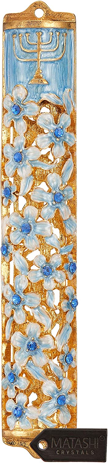 Matashi Hand Painted Blue and Ivory Enamel Flower Mezuzah Embellished with Gold Accents and Menorah Design Crystals Home Door Wall Decor Housewarming Present Gift for Festival(5.5 inch)