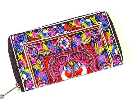 Portefeuille Ethnique Brodé Porte Monnaie Femme Porte chequier Vintage Purse Wallet OAL1Rxly7M