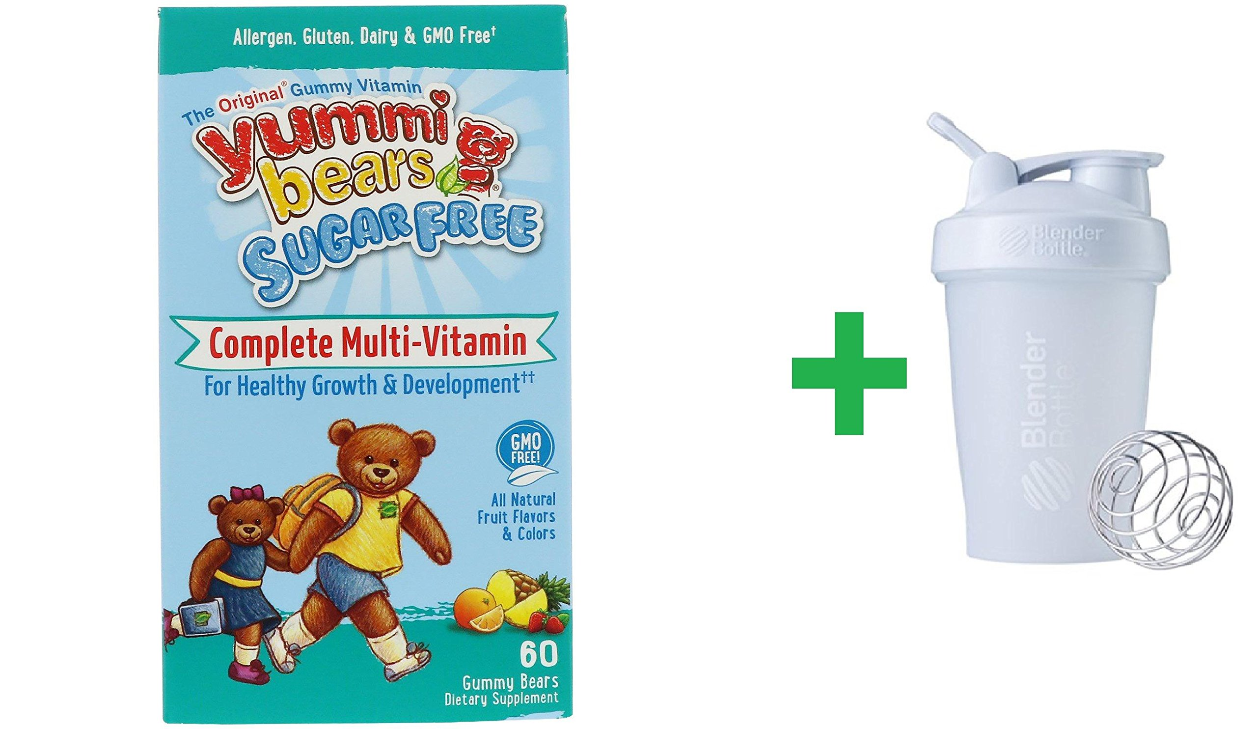 Hero Nutritional Products, Yummi Bears, Complete Multi-Vitamin, Sugar Free, All Natural Fruit Flavors, 60 Gummy Bears + Sundesa, BlenderBottle, Classic With Loop, White, 20 oz