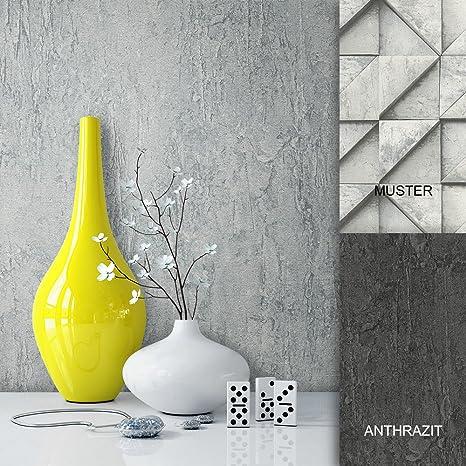 Steintapete Vliestapete Grau Edel Uni, schöne edle Tapete im Beton Optik  Design, moderne Optik für Wohnzimmer, Schlafzimmer oder Küche inklusive der  ...