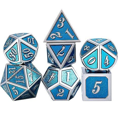TecUnite Juego de Dados 7-Die Poliédricos de Metal Conjunto de Dados de Juego de rol DND con Bolsa de Almacenaje para RPG Dungeons y Dragons D&D ...