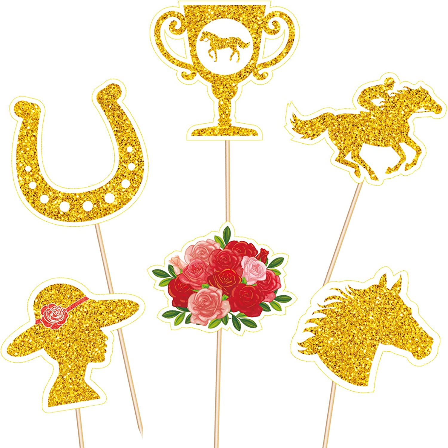 Kentucky Derby Cupcake Toppers Decorations Food Picks - Horse Racing Appetizers Toothpicks Sticks Party Supplies 144Ct