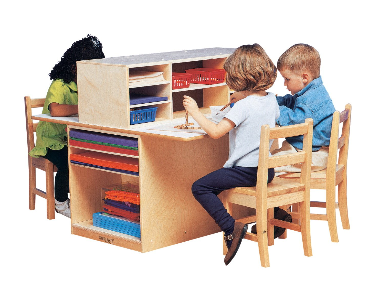 Childcraft 071978 Double-Sided Junior Writing Center, 40-3/4'' x 32'' x 36-1/4'', Natural Wood Tone by Childcraft