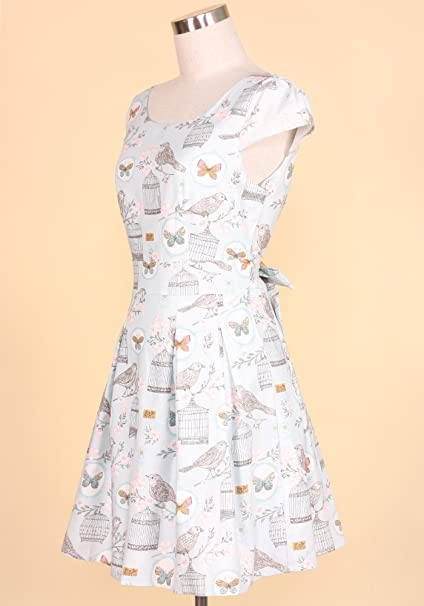 a10d0ef53 Sidecca Women s Victorian Butterfly   Bird Cage Printed Cap Sleeve A ...