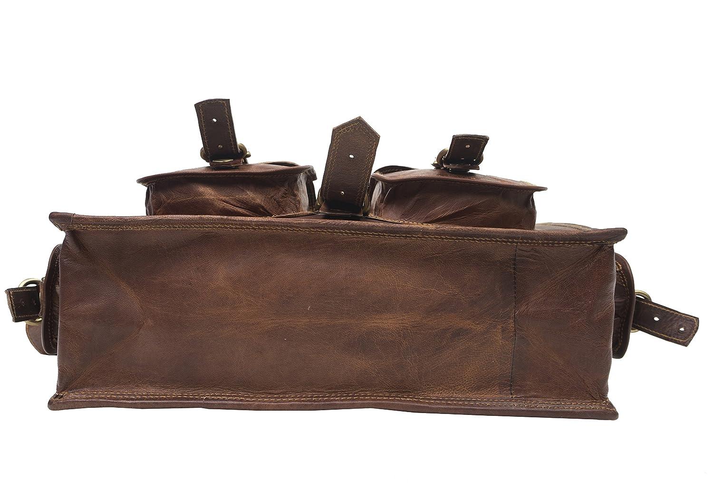 Ideal como malet/ín de Negocios o para port/átiles y Libros dise/ño Vintage Bandolera de Cuero Cherry Bag Unisex Retro y aut/éntica Hecha a Mano Resistente y gastada