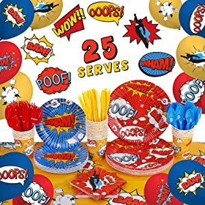 Superhero Birthday Party Supplies by Aliza   Baby Boy Toddler Kids Birthday Super Hero Decorations – Cups Plates Signs Napkins Balloons Tablecloth Utensils – Decorations for Boys and Girls – Serves 25