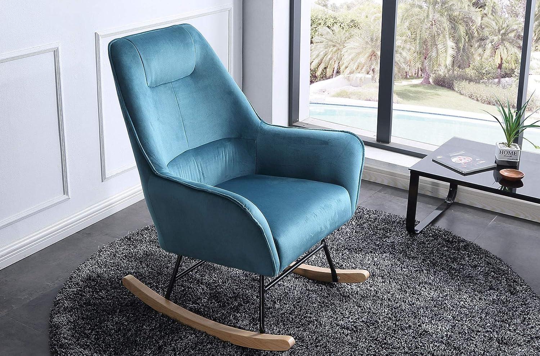 SuenosZzz-Sillon para Lactancia Butaca Mecedora tapizada en Tela Color Azul.Sillon Relax Gran Confort. Sill/ón balancin Benz