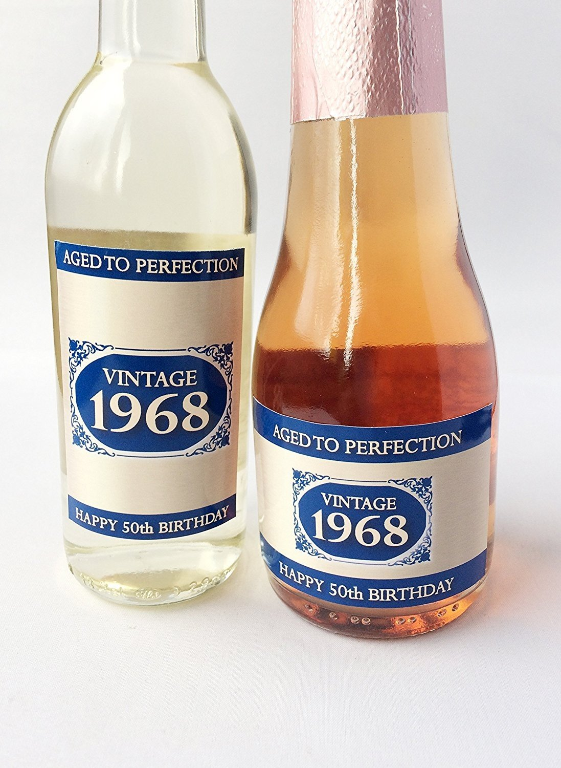 1968 Vintage azul Happy 50th cumpleaños 2018 Mini vino, Mini botella de champán etiqueta regalo presente..., Mini Champagne Label Purple Products