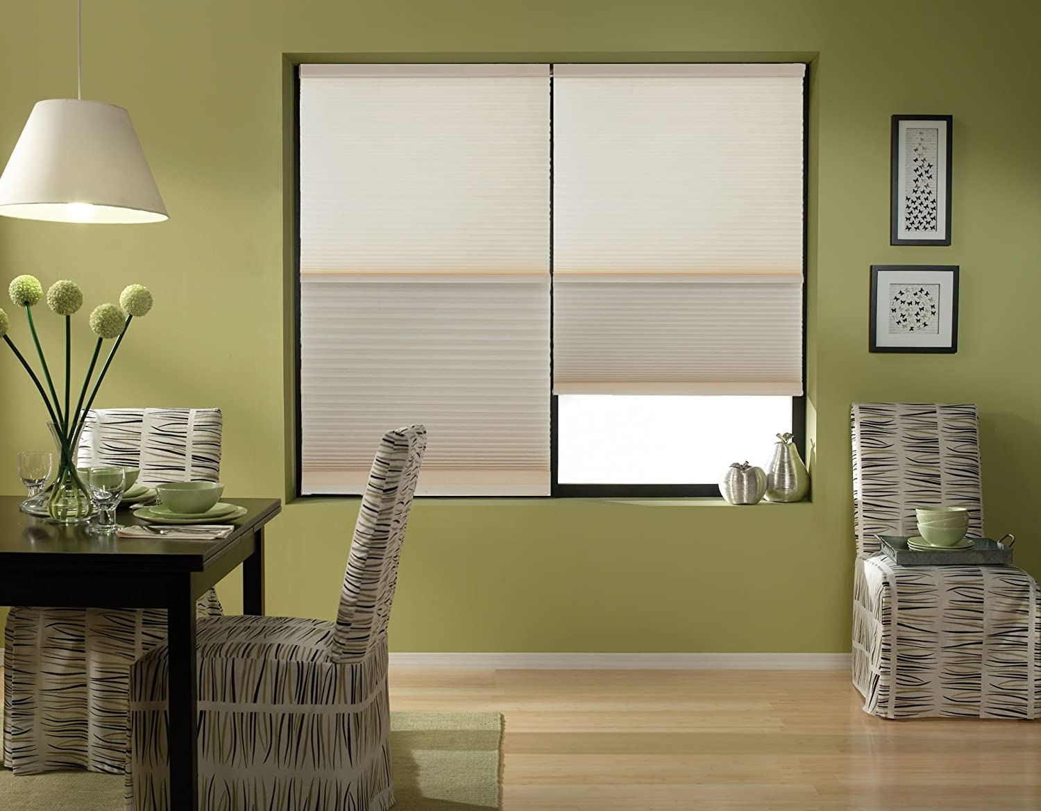 54W x 60H Cordless Day//Night Cellular Shade 2 Shades in 1-Blackout and Light Filtering in one Shade Antique Linen