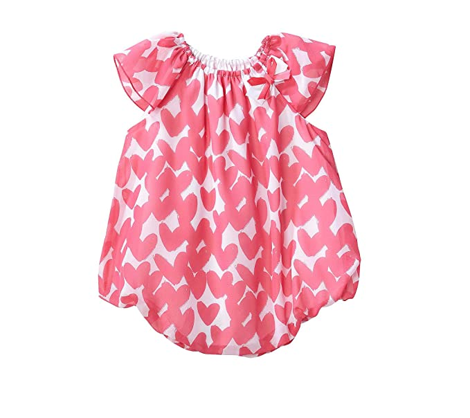 5722942e02c Amazon.com  Cuddle Bear Baby Girls  Heart Flutter Sleeve Bubble ...