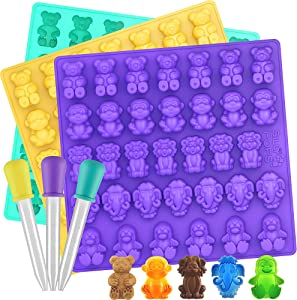 Large Gummy Bear Mold Bpa Free Silicone - Set of 3 for 102 Candies - 5 Different Types of Animals - 3 Droppers Included - Silicone Gummy Molds, Candy Molds