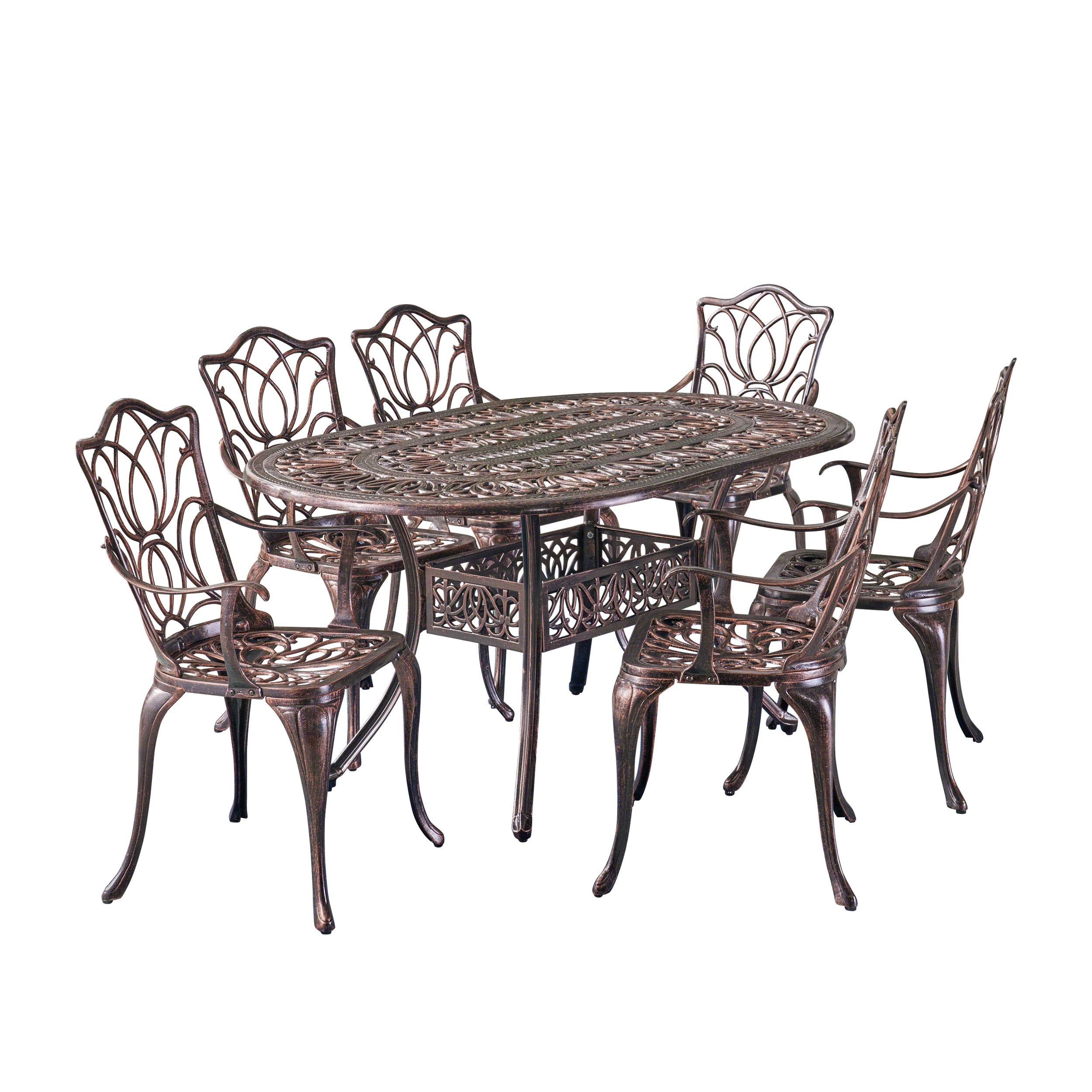 Christopher Knight Home Gardena Outdoor Furniture Dining Set, Table and Chairs for Patio or Deck in Copper (7-Piece Set)