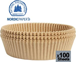 Airfryer parchment paper l Nordic unbleached disposable Liners 9 inch [100pcs] l Steamer sheets l non-stick basket mat for frying pans, crockpot, oven, baking, Steaming Made in Norway