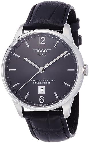 TISSOT - Montre Homme Tissot Chemin Des Tourelles Automatique T0994071644700 Bracelet Cuir Noir - T0994071644700: Amazon.fr: Montres