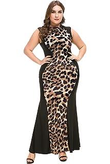 8bc3851c7 PlusSize Depot Women's Plus Size Casual Leopard Print Maxi Dress Sleeveless  Long Dresses 1xl-5xl