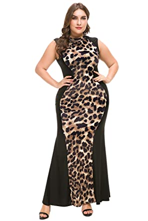 f7dffff3733 PlusSize Depot Women's Plus Size Casual Leopard Print Maxi Dress Sleeveless  Long Dresses 1xl-5xl