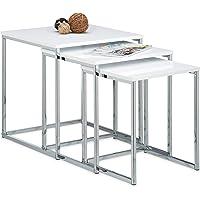 Relaxdays – Conjunto de 3 mesas auxiliares, madera