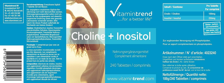 Tabletas de colina con inositol - 240 tabletas para ¡¡8 MESES!! - para la capacidad de concentrarse y la memoria- alta dosificación - Vitamintrend: ...