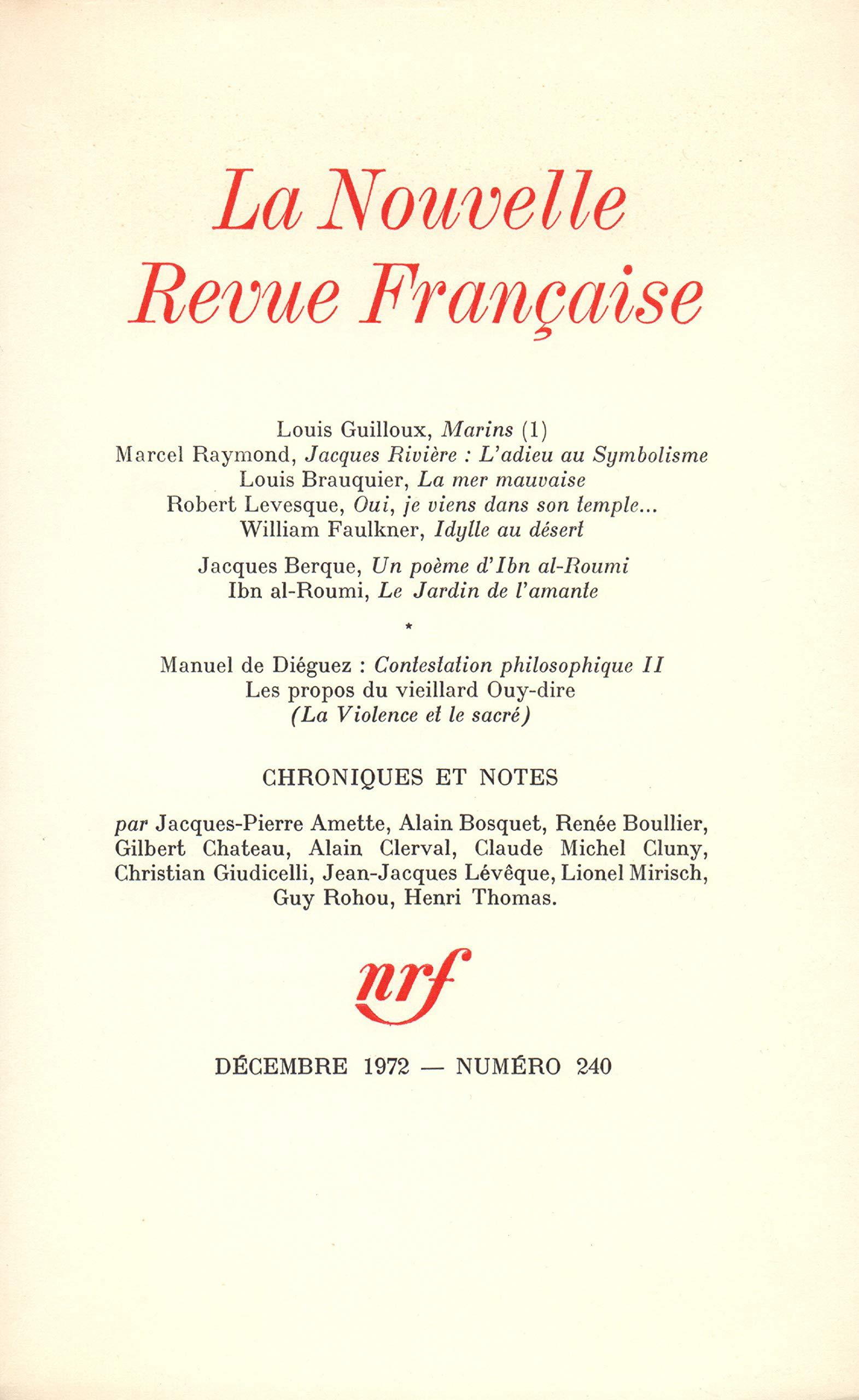 Amazonfr La Nrf Numéro 240 Décembre 1972 Collectif