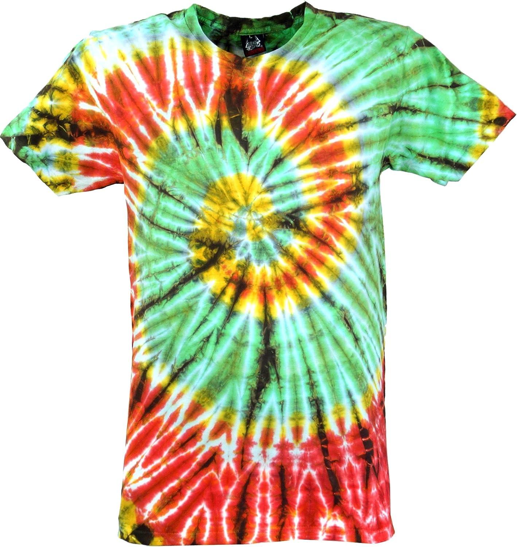 GURU-SHOP, Camiseta Batik, Camiseta Hombre Manga Corta Tye Dye, Verde Claro/Rojo Spiral, Algodón, Tamaño:M, Camisetas Batik