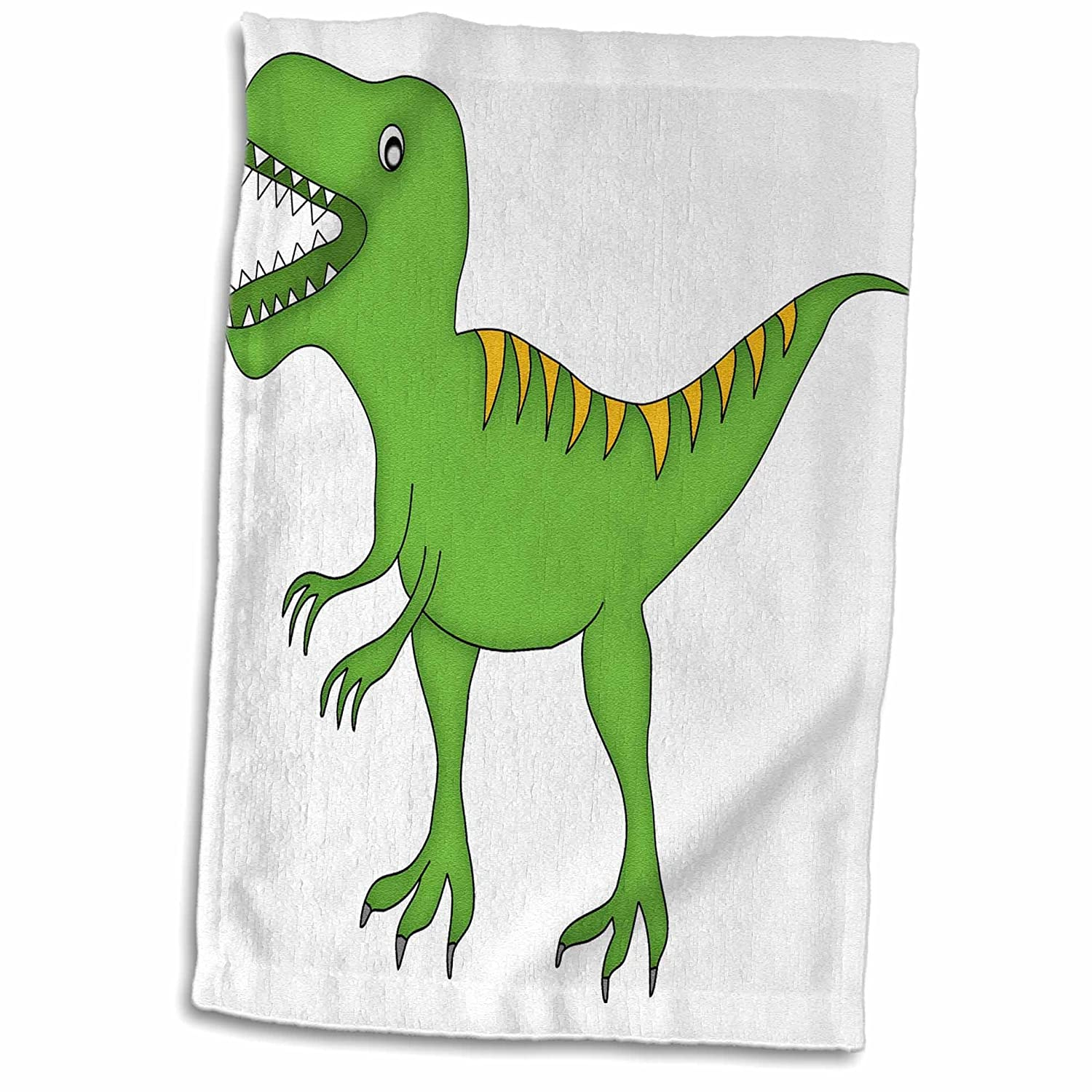 3D Rose Green and Yellow Dinosaur Growling Hand Towel 15\' x 22\' Multicolor