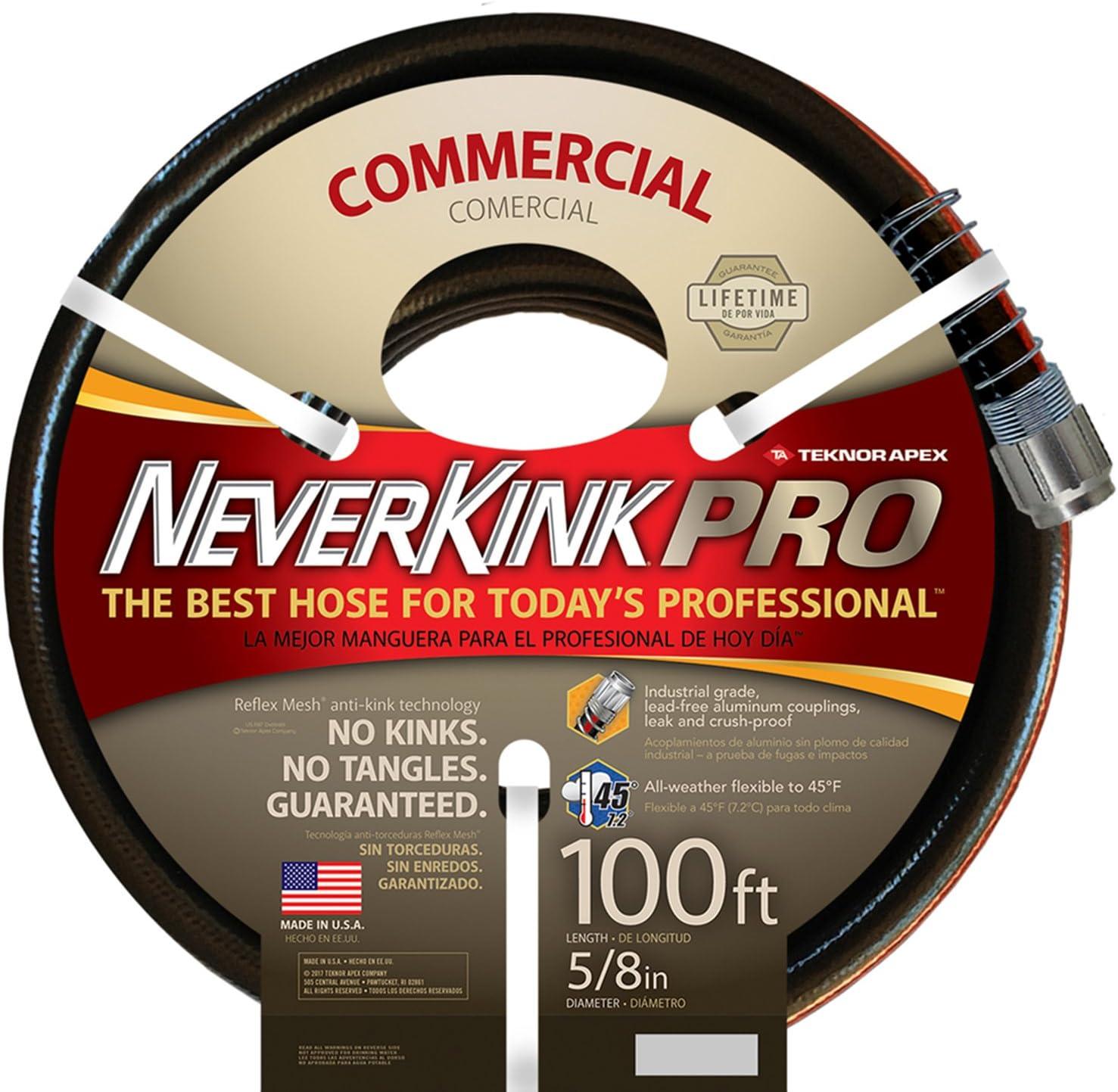 Teknor Apex Neverkink, 8844-100, PRO Water Hose, 5/8-in x 100-feet, Black : Garden & Outdoor