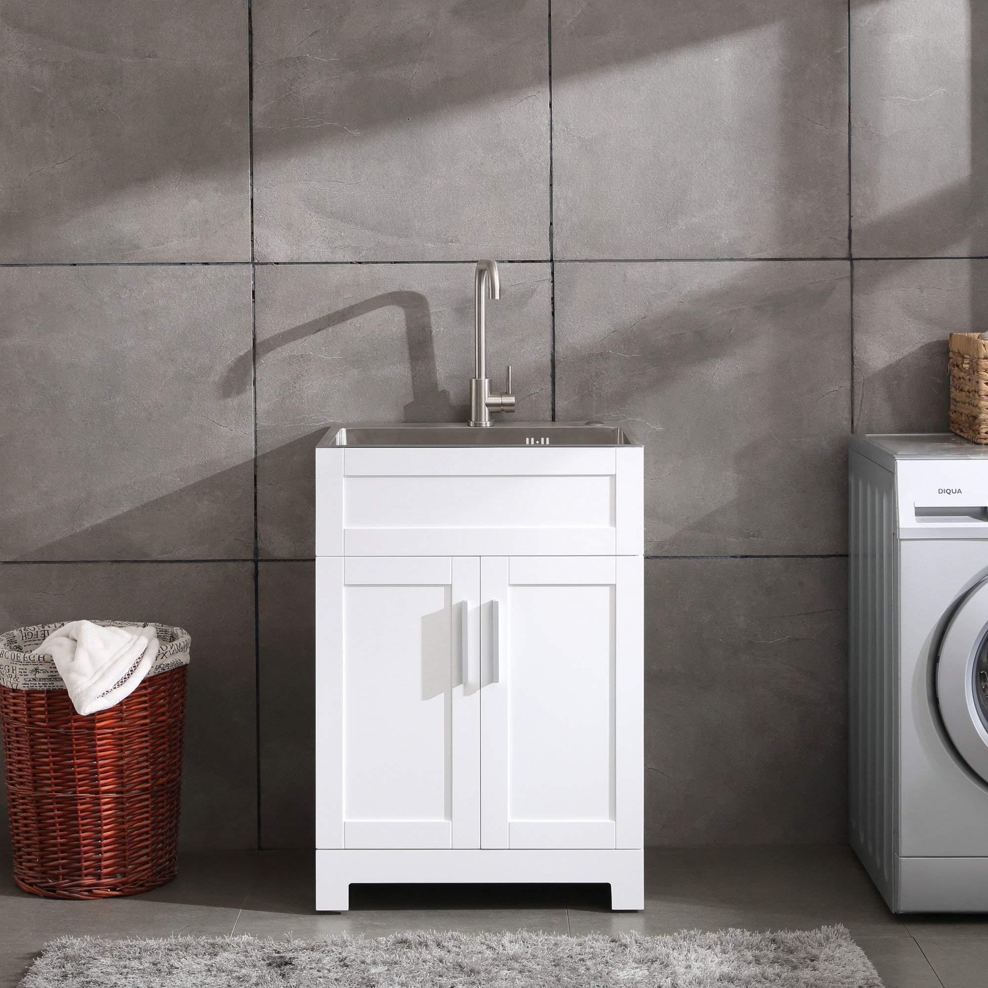 24'' White Laundry Utility Cabinet w/Stainless Steel Sink and Faucet Combo