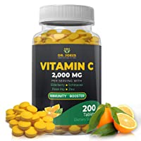 Immune Support Vitamin C 2000 mg - 200 Tablets - with Zinc, Elderberry, Rose Hip, Echinacea - Boosts Immune System- Made in USA