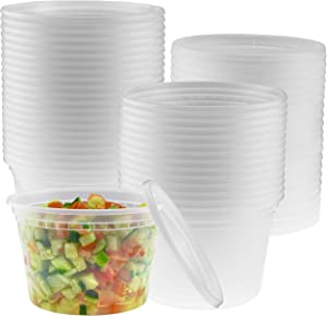16-Ounce Clear Deli Containers with Lids | Stackable, BPA-Free Food Storage Container Set | Recyclable Space Saver Airtight Container for Kitchen Storage, Meal Prep, Take Out | 40 Pack