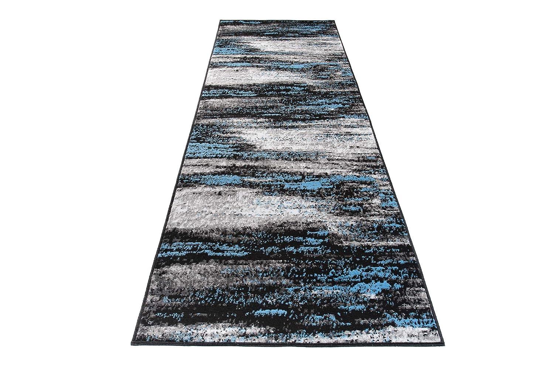 TAPISO Maya Tappeto Passatoia al Metro Tappeto Runner Corridoio Cucina Grigio Blu Moderno Astratto A Pelo Corto 70 x 100 cm