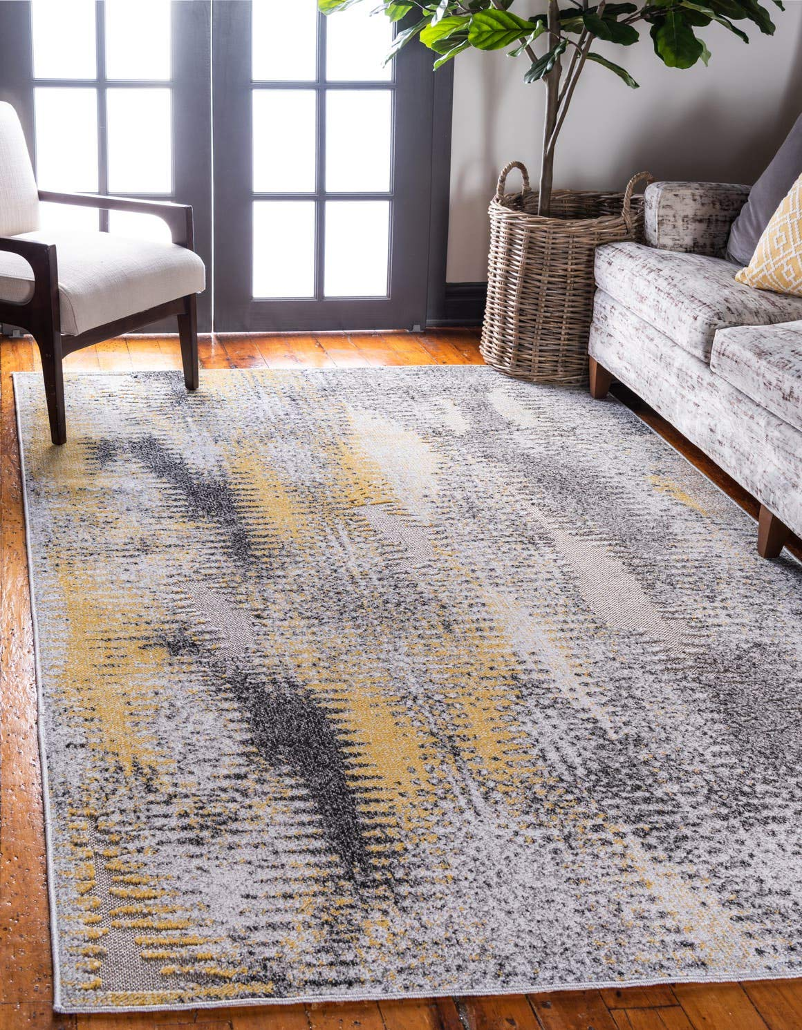 Unique Loom Outdoor Modern Collection Carved Distressed Transitional Indoor and Outdoor Flatweave Ivory Area Rug 6 0 x 9 0