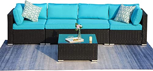 Green4ever Outdoor Patio 5 Pieces Furniture All Weather Sectional PE Wicker Sofa Rattan Loveseat Conversation Set