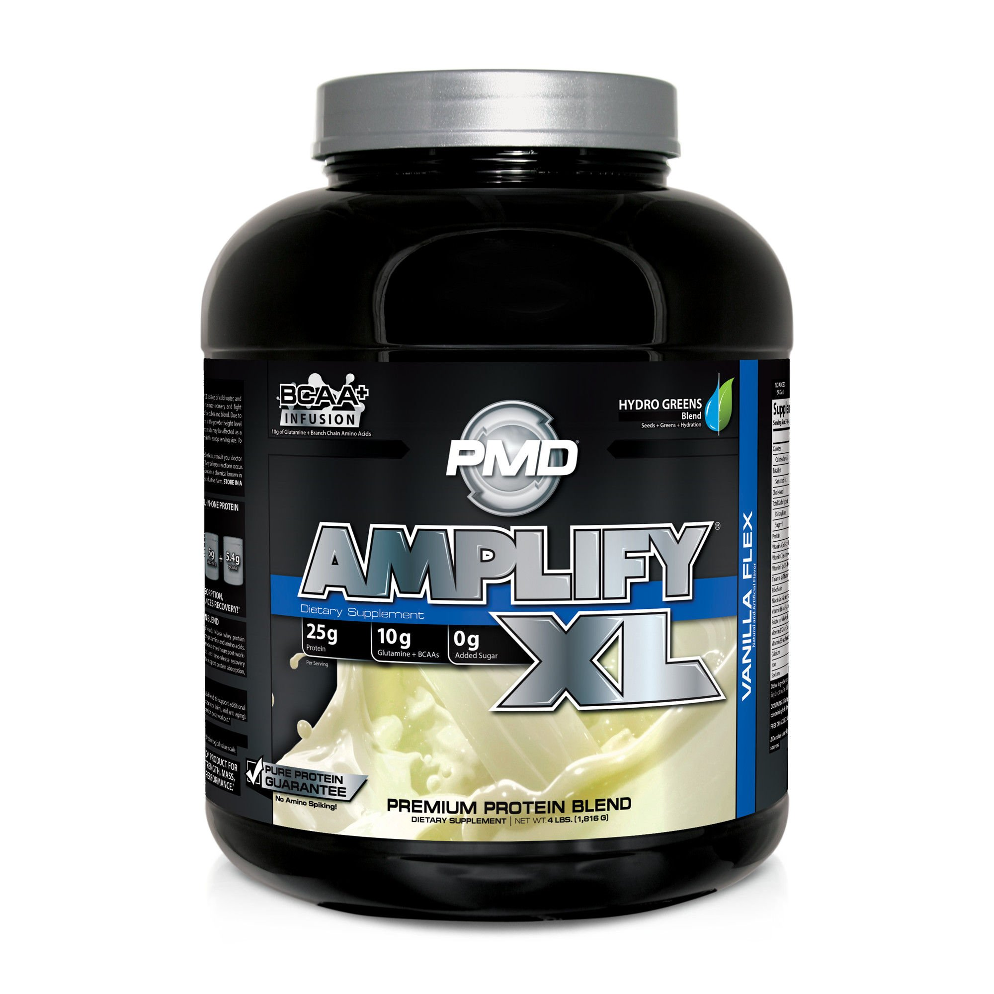 PMD Sports Amplify XL Superior Protein Supplement - Glutamine and Whey Protein Matrix with Superfood for Muscle, Strength and Recovery - Vanilla Flex - 48 Servings