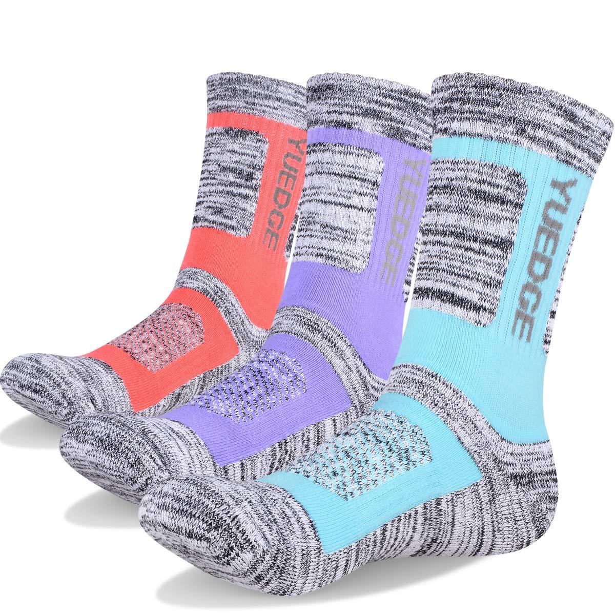 YUEDGE 3 Pairs Womens Walking Socks Cushion Breathable Trekking Socks Outdoor Winter Thermal Warm Socks