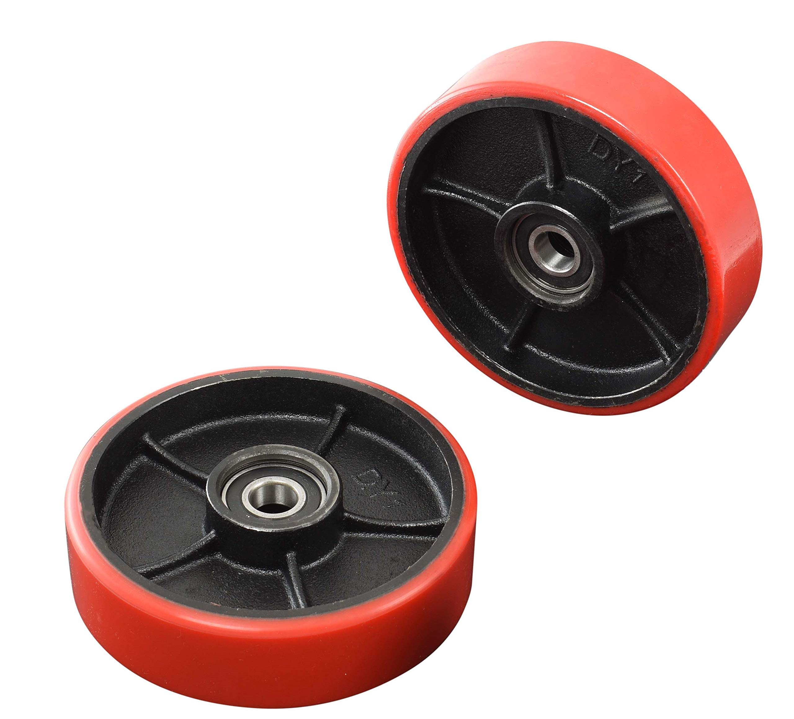 Pallet Jack/Truck Full Set (8 pcs) Steering Wheels 7''x 2'' Pair with Front Load Roller 3'' x 3.75'' Pair with Bearings ID 20mm Poly Tread Red with Entry Exit Roller and Protective Caps by CARBO GLIDE (Image #3)