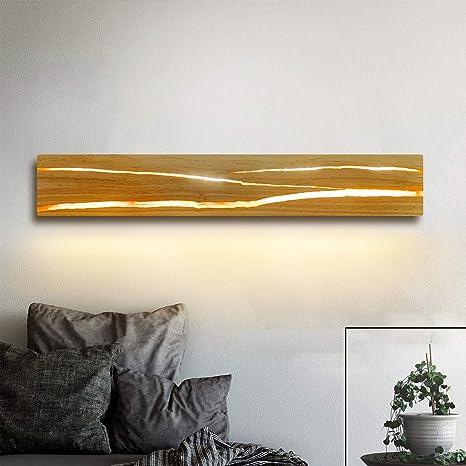 ZMH Holz Wandleuchte LED Wandleuchte innen Holz Nachtlampe ...