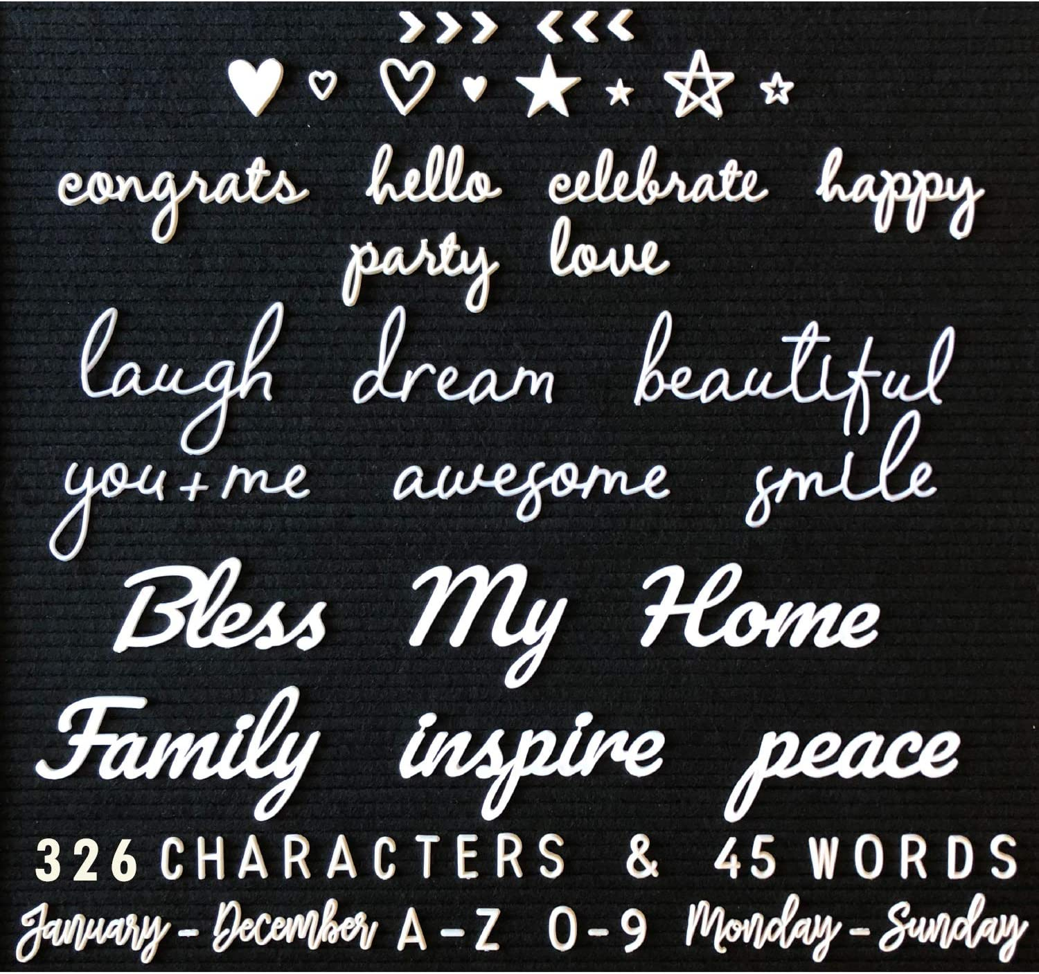 Letter Board Letters and Words For Changeable Boards and Felt Letterboards - 371 Piece ALL WHITE Mega Bundle, 45 1-3 Inch Cursive Words - Characters, Letters, Plastic Letter Set, Words, Bag Only