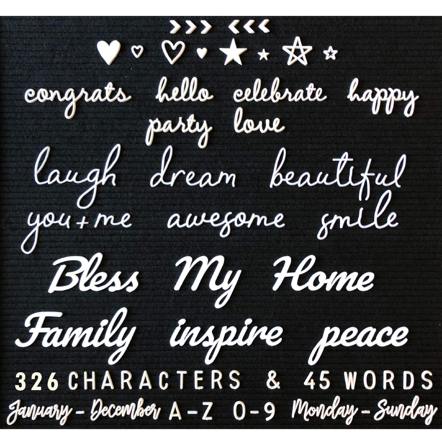 Letter Board Letters and Words for Changeable Boards and Felt Letterboards - 371 Piece All White Mega Bundle | 45 1-3 Inch Cursive Words | Characters, Letters | Plastic Letter Set, Words, Bag Only by Word Notions