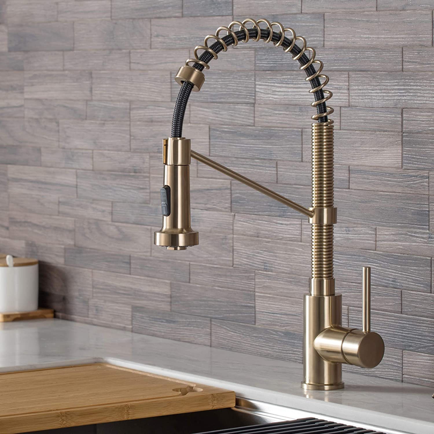 Kraus Kpf 1610sfbg Bolden 18 Inch Single Handle Commercial Style Pull Down Kitchen Faucet With Dual Function Sprayer Spot Free Brushed Gold Amazon Com