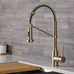 Kraus KPF-1610SFBG Bolden 18-Inch Single Handle Commercial Style Pull-Down Kitchen Faucet with Dual Function Sprayer, Spot Free Brushed Gold