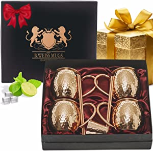 [Gift Set] Copper Mugs Moscow Mule Set Of 4 By B.WEISS Handmade Hammered Copper Cups 100% Pure Copper +Bonus: 4 copper straws 1 shot mug and A beautiful gift box