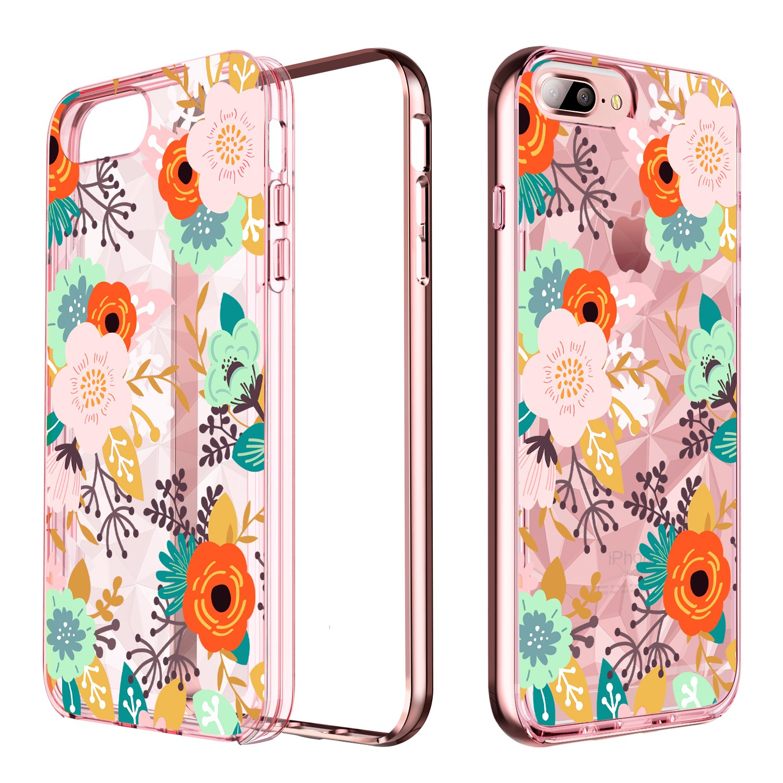 iPhone 8 PlusケースiPhone 7 PlusケースクリアYINLAIスリムダイヤモンドプリズムハイブリッドハードPCバンパーTPUバックカバーiPhone 8 Plus / 7 Plus用ローズゴールド/ピンク   B07H2GL4KV