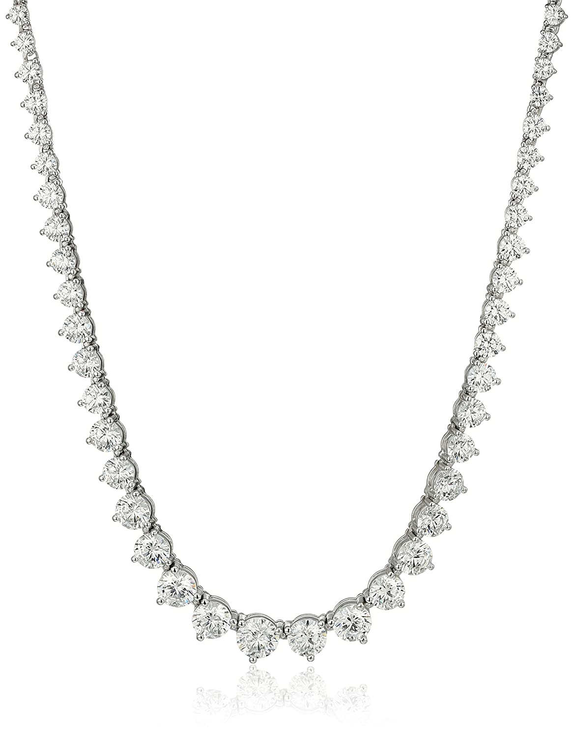"Amazon.com: Myia Passiello Timeless Platinum-Plated Sterling Silver and  Swarovski Zirconia Graduated Riviera Necklace, 18"": Chain Necklaces: Jewelry"
